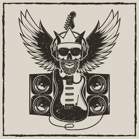 Rock Star vintage grunge design for t-shirt. Vector hand drawn illustration of guitar, speakers, spread wings and hipster skull in headphones, sunglasses and crown.