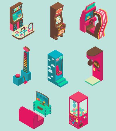 Arcade game machine icon set vector flat isometric illustration