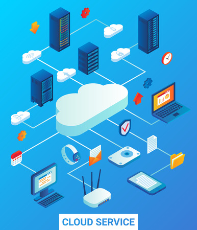 Cloud service vector flat isometric illustration