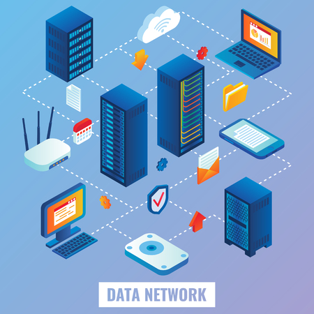Data network flowchart. Vector flat 3d isometric illustration of network servers, internet router, laptop, mobile phone. Иллюстрация
