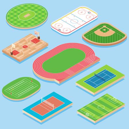 スポーツフィールドベクトルフラットアイソメアイコンセット  イラスト・ベクター素材