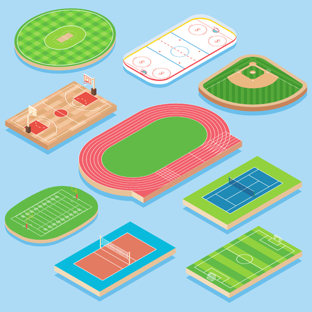 Sport veld vector plat isometrische icon set Stockfoto - 93711722