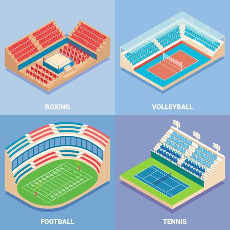 Sport stadium vector flat isometric icon set. Illustration