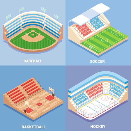 Sport stadium vector flat isometric icon set Illustration