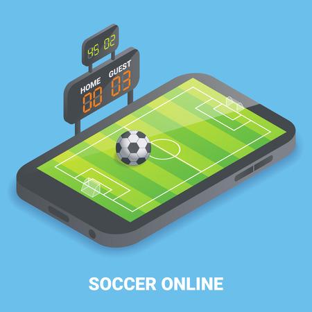 Soccer online concept vector flat isometric illustration
