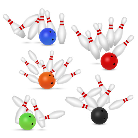 Bowling ball and skittles set, vector realistic illustration. 向量圖像