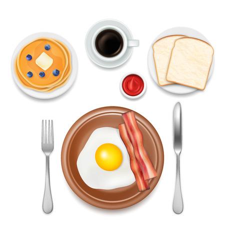 Breakfast foods vector top view illustration Çizim