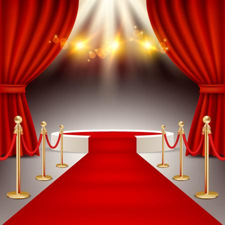 Podium zwycięzców z realistyczną ilustracją wektorową czerwonego dywanu. Ilustracje wektorowe