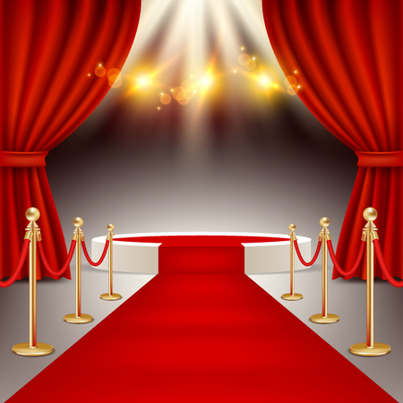 Winners podium with red carpet vector realistic illustration.
