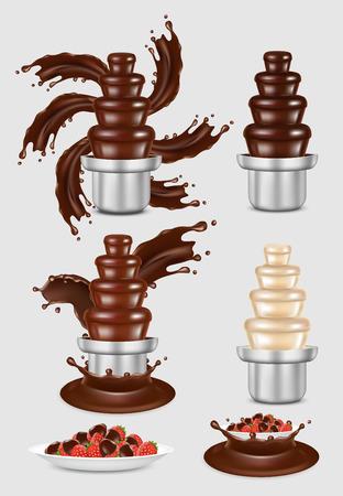 Wektor czekoladowe fontanny maszyny zestaw ilustracji.