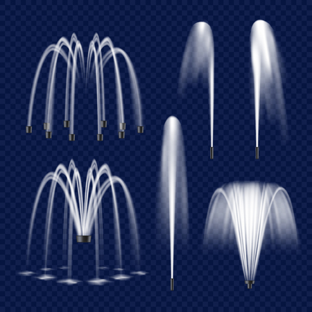 Vector realistic fountain with water jet icon set illustration.