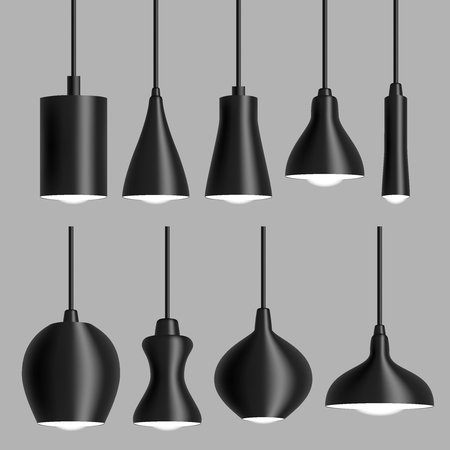 Modern black ceiling lamp set vector realistic illustration.