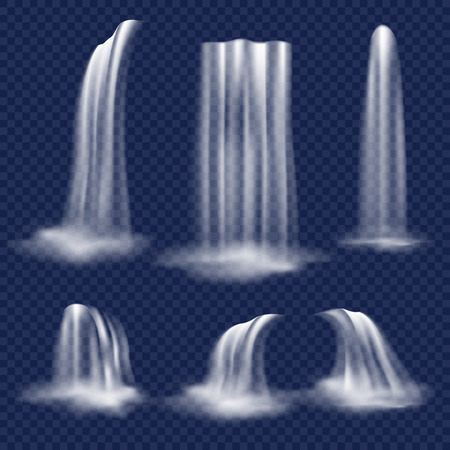 Vector realistic waterfall set illustration.