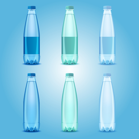 Water bottles set vector realistic transparent plastic bottles with mineral water templates mock ups. Illustration