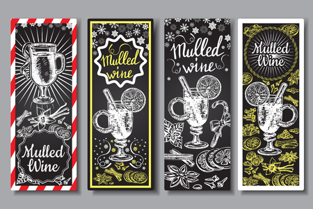 Hand drawn mulled wine vector banners set. Black and white sketch posters with wine glass. Menu cards design templates in retro vintage style.
