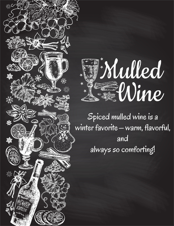 Hand drawn mulled wine vector poster. Black and white sketch with wine glass. Menu cards design templates in retro vintage style on black background. Illustration