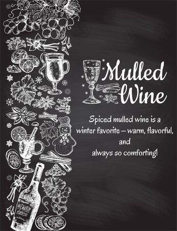 Hand drawn mulled wine vector poster. Black and white sketch with wine glass. Menu cards design templates in retro vintage style on black background