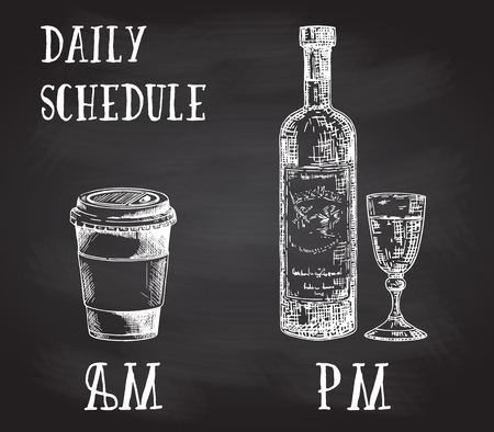 Vector concept poster with drinking habits. Coffee at the morning and alcohol in the evening. Hand drawn sketch on chalkboard. Cup of coffee to go and bottle of wine with glass.  イラスト・ベクター素材