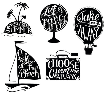 Vector travel quotes and sayings typography set