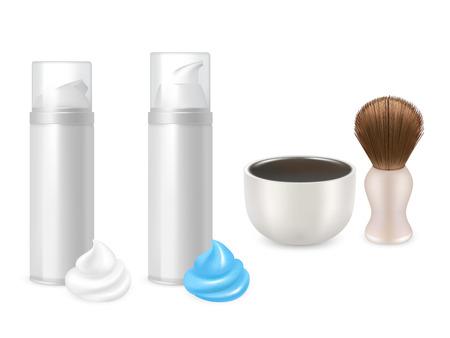 Vector shaving gel foam bottles, shaving brush, mug mockup set Illustration