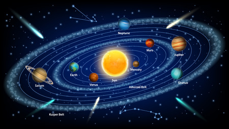 Solar system concept vector realistic illustration