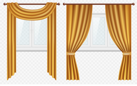 Vector realistic windows with curtains and drapes set