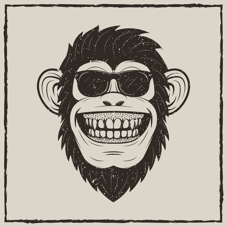 Funny monkey in sunglasses vector sketch grunge illustration.