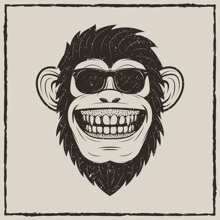 Funny monkey in sunglasses vector sketch grunge illustration.