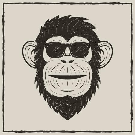 Monkey in sunglasses vector grunge t-shirt printing design Illustration