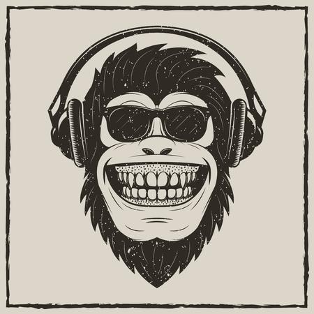 Śmieszne małpy słuchanie muzyki wektor grunge t-shirt drukowanie projektu