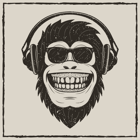 Funny monkey listening to music vector grunge t-shirt printing design