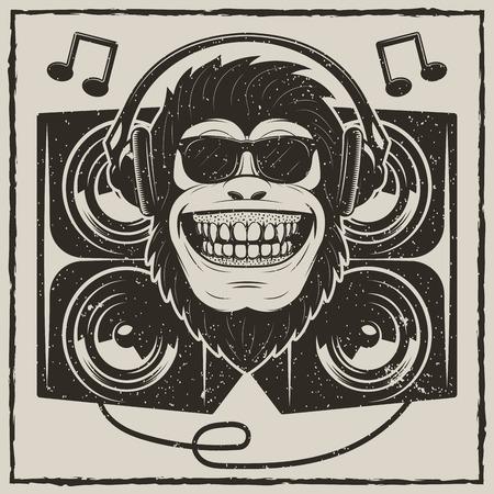 Cool music monkey vector grunge t-shirt printing design Foto de archivo - 95747398