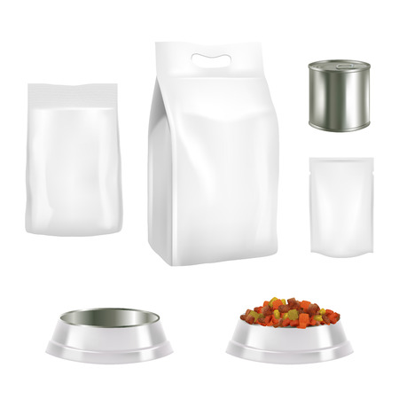Vector set of dog food pack templates.