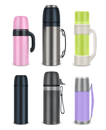 Thermos mock-up set, vector realistic illustration Vectores