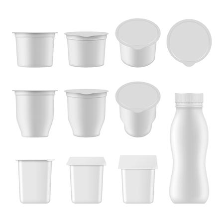 Natural yogurt vector realistic package mockup set Ilustracja