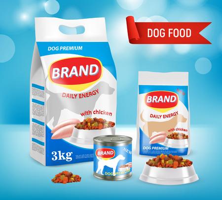 Dog food brand ad vector realistic illustration