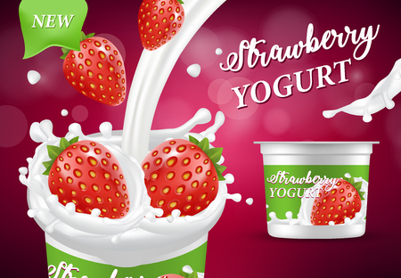 Natural yogurt, vector realistic illustration. Healthy dairy product with fresh and ripe strawberry, milk splashes, packaging design. Natural strawberry yogurt ad poster.