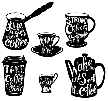 Vector cute coffee quotes and sayings typography set.