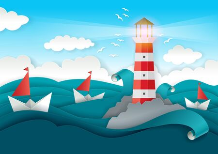 Lighthouse and boats floating on sea. Vector illustration in modern paper art style. Marine greeting card, cover, poster, banner design template.