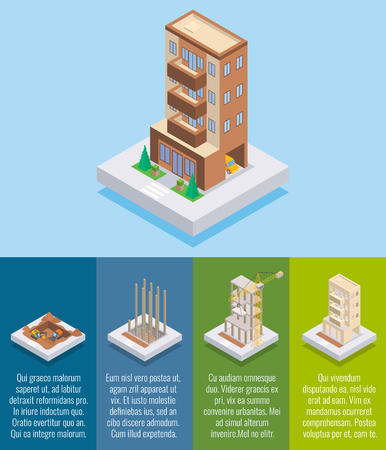 Apartment construction vector flat isometric poster, banner