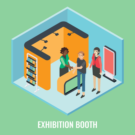 Exhibition booth concept vector flat 3d illustration. Isometric trade show stand mockups, young woman promoter and visitors.
