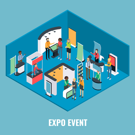 Expo event concept vector flat 3d illustration. Isometric exhibition equipment, young man and woman promoters and visitors. Vectores