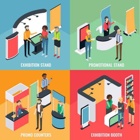 Promotion equipment like exhibition booth and stands, vector flat isometric poster, banner set