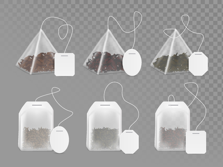 Pyramid and rectangle shaped tea bag mock up set. Vector realistic illustration of teabag with empty white label isolated on transparent background.