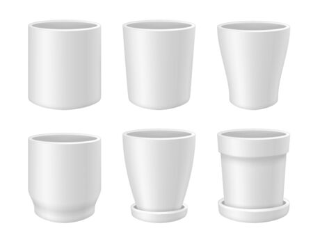 White empty flower pot vector realistic mock up set Vettoriali