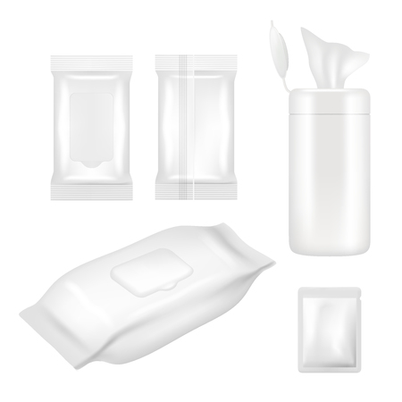 Wet wipes package mockup set. Vector realistic white blank packaging foil and plastic containers with flap for wet wipes isolated on white background. Vettoriali