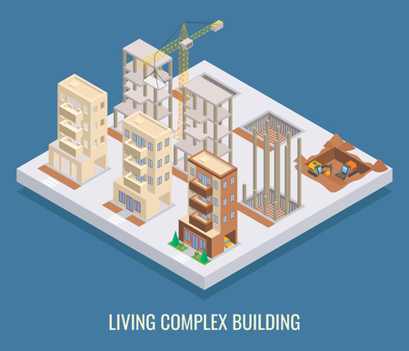 Living complex building vector flat isometric poster, banner.