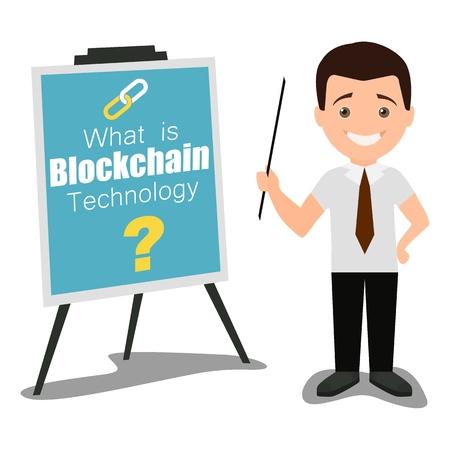 Blockchain technology business presentation concept vector flat illustration