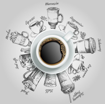 Cup of coffee with coffee drinks vector creative illustration