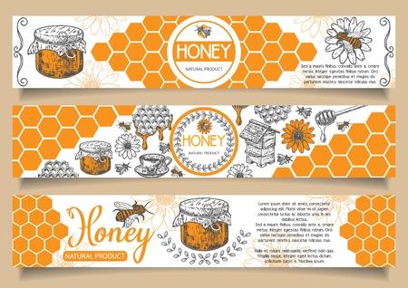 Insieme orizzontale dell'insegna di vettore del miele naturale dell'ape. Elementi disegnati a mano di progettazione di massima del prodotto naturale del miele per la pubblicità di affari del miele. Archivio Fotografico - 98690377